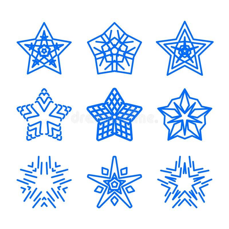 星商标模板集合 被隔绝的传染媒介蓝色几何装饰标志 蓝色装饰和创造性的企业标志 向量例证