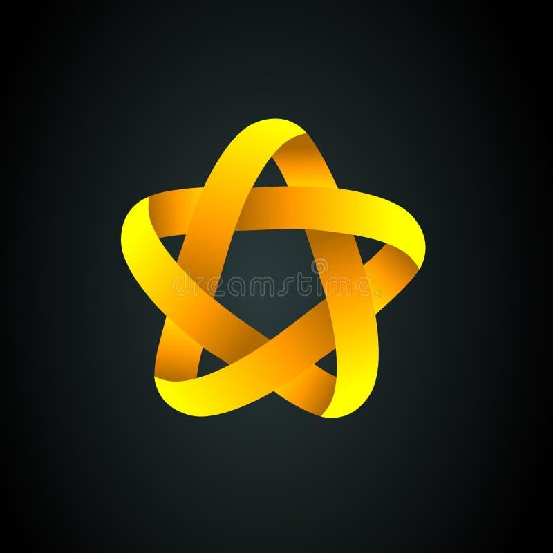 星商标 事务和公司的金黄星象商标 皇族释放例证