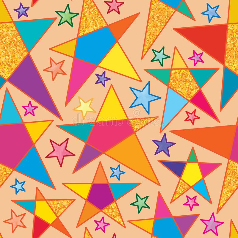 星大水彩金子闪烁无缝的样式 库存例证