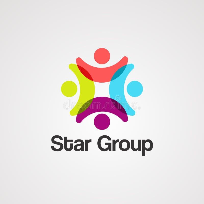 星小组商标传染媒介、象、元素和模板 库存例证