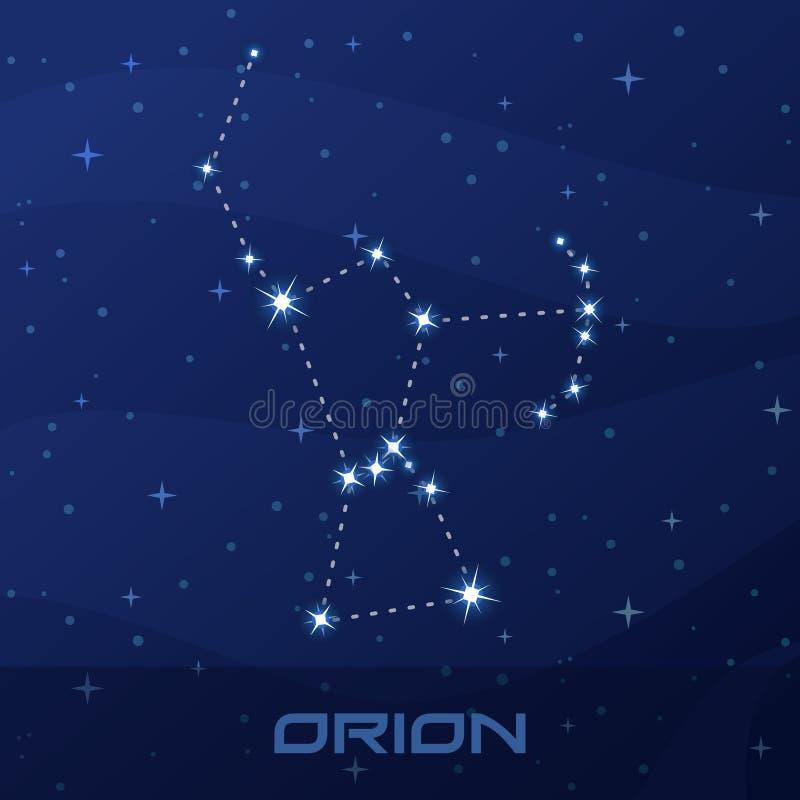 星座猎户星座,猎人,夜星天空 向量例证