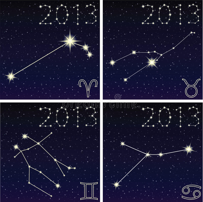 星座白羊星座,金牛座,双子星座,巨蟹星座 库存例证