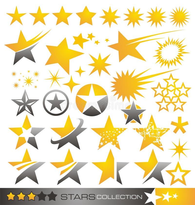 星形图标和徽标收集 向量例证
