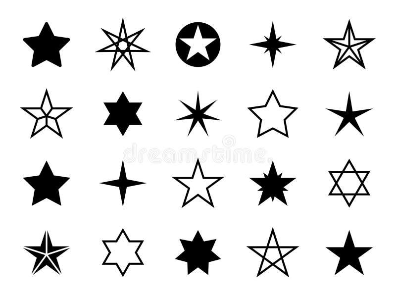 星形状集合 不同的星形状,圣诞节图表 上升,规定值和成功,表决标志 奖,质量 库存例证