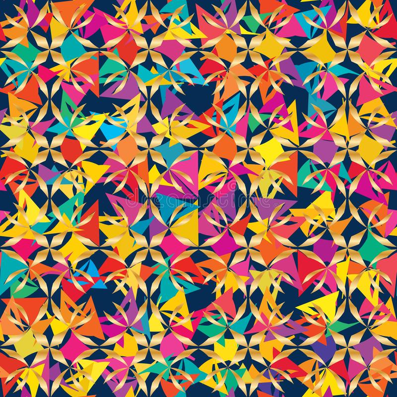 星形琢磨花样方形的部族颜色对称无缝的样式 皇族释放例证