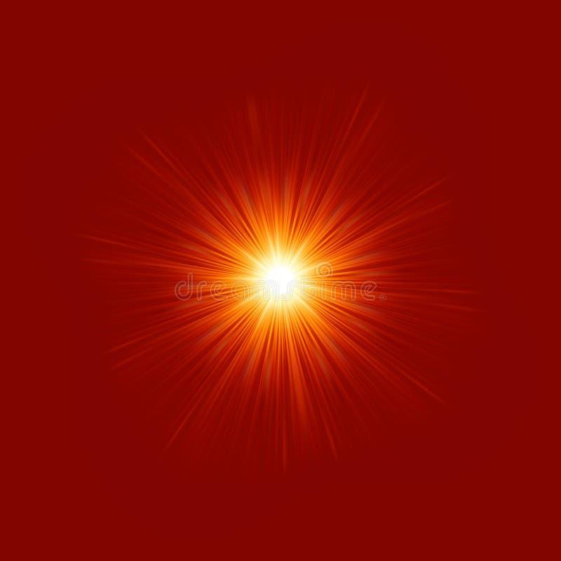星形破裂的红色和黄色火。 EPS 8 皇族释放例证