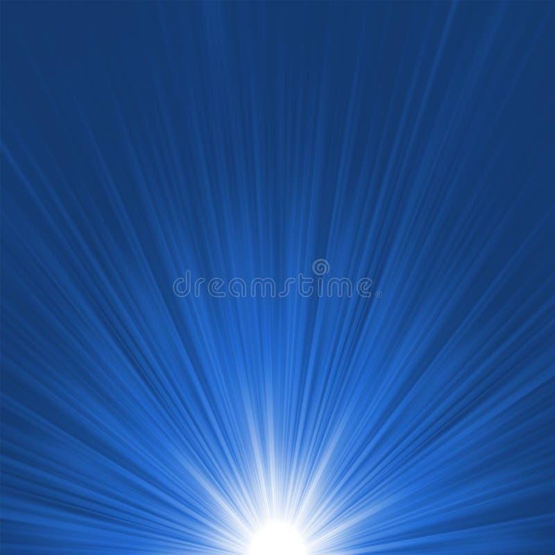 星形破裂的蓝色和白色火光。 EPS 8 向量例证