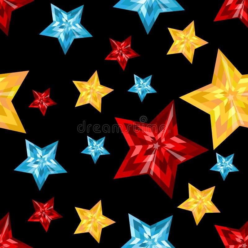 星形 在黑背景的宝石 首饰裁减 库存例证