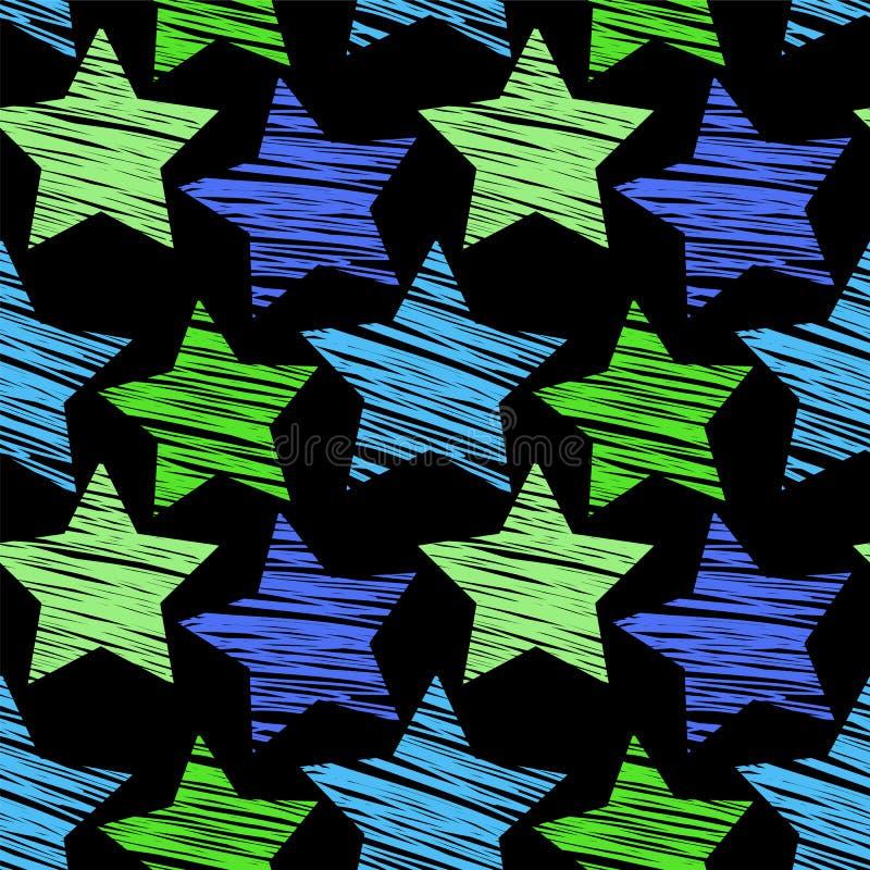 星无缝的样式 库存例证