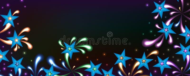 星明亮的精神五颜六色的横幅 向量例证