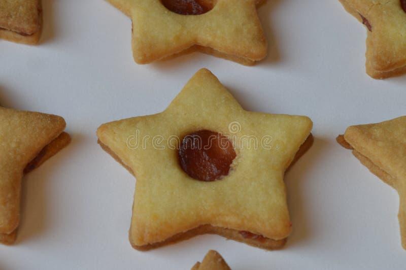 星曲奇饼用果酱 库存图片
