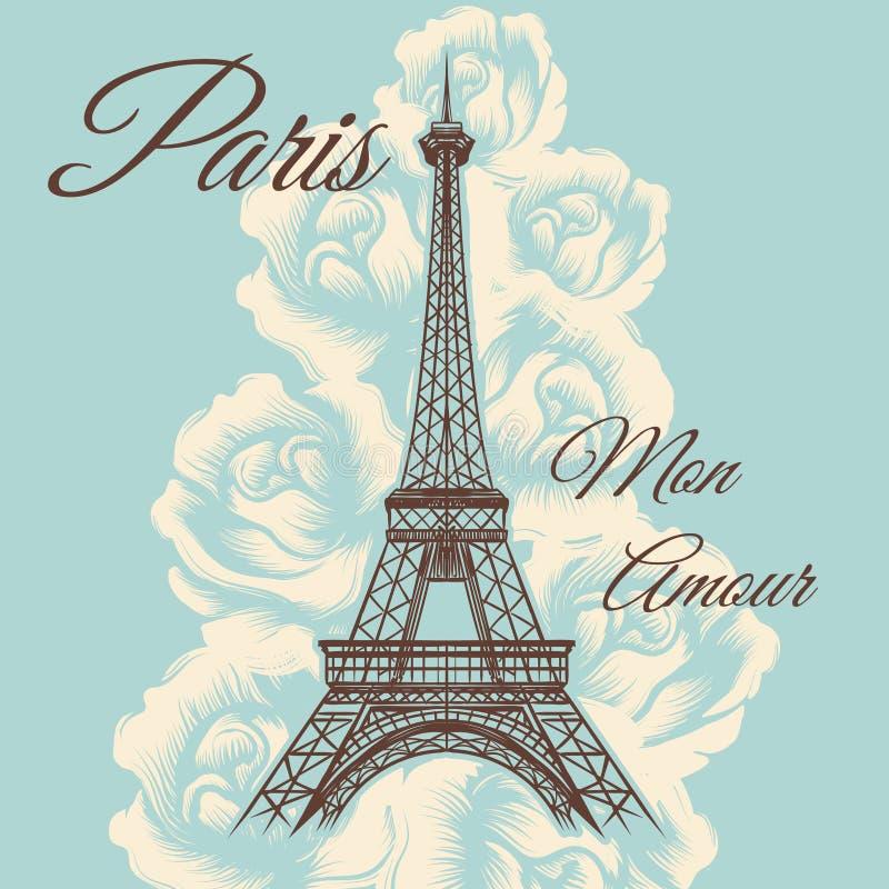 巴黎星期一私通葡萄酒海报 向量例证