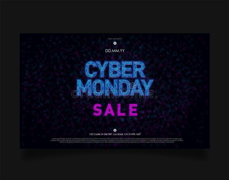 星期一网络在未来派全息图HUD样式的销售横幅在与蓝色光的黑暗的背景 横幅的设计,事件 向量例证