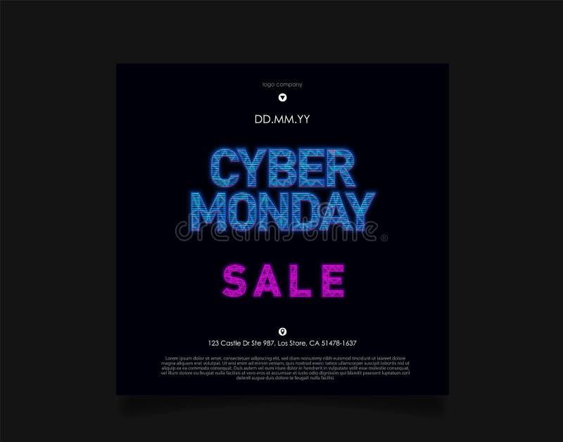 星期一网络在未来派全息图HUD样式的销售题字在与蓝色光的黑暗的背景 飞行物的设计 皇族释放例证