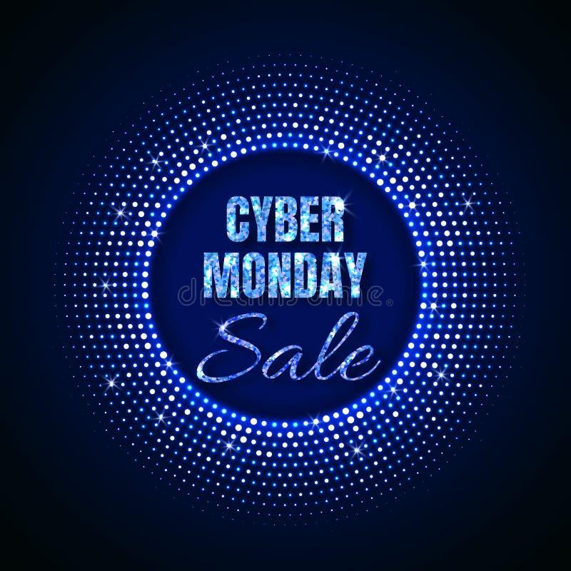 星期一网络销售在霓虹样式的技术背景与霓虹发光的圈子半音装饰品 抽象背景迪斯科 库存例证