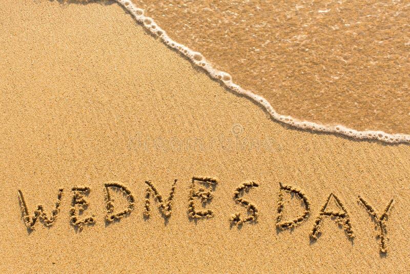 星期三-在沙子海滩的题字 图库摄影