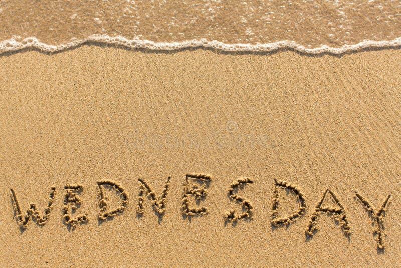 星期三-得出在海滩沙子的手 免版税库存图片