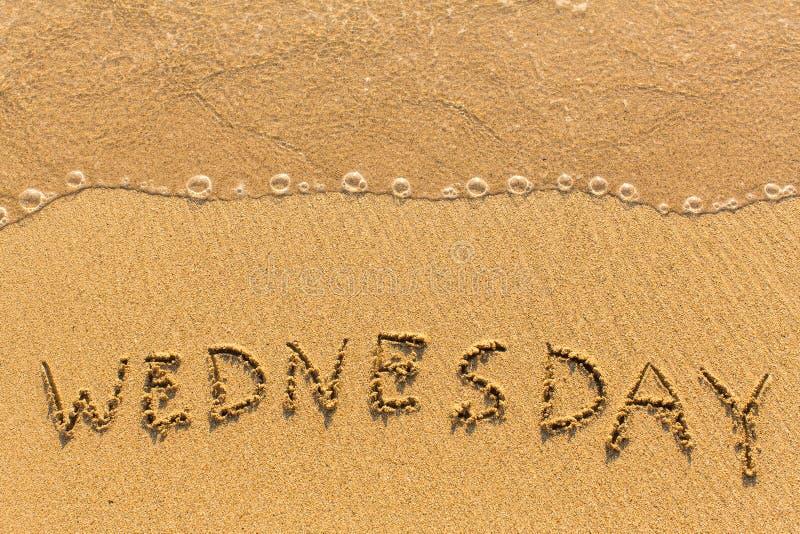 星期三-手写在海海浪的线的沙子 摘要 免版税库存图片
