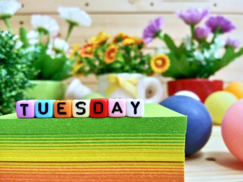 星期二 在稠粘的笔记块的五颜六色的立方体信件 库存照片