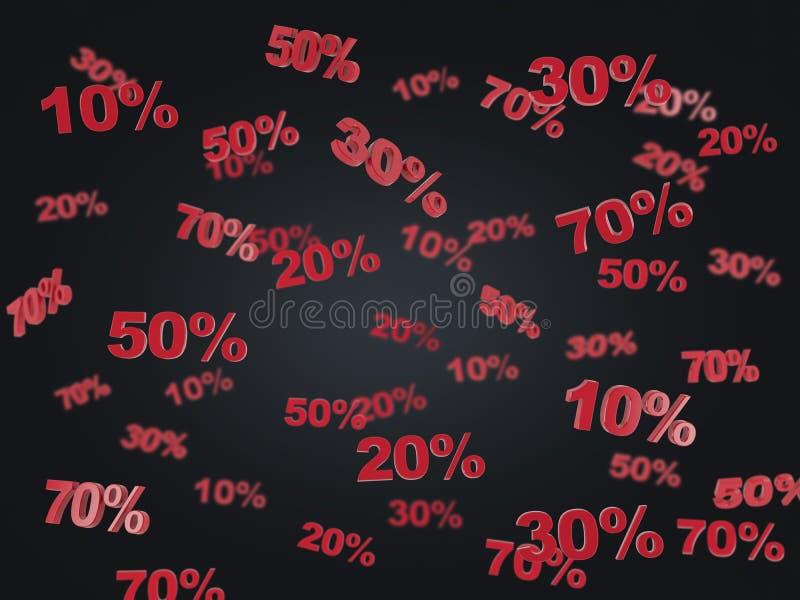 黑星期五、折扣和销售的概念 折扣的汇集第10% 20% 30% 50% 70% 图库摄影