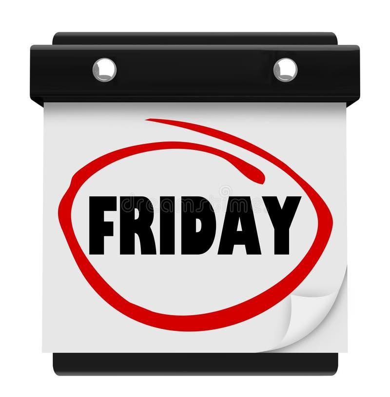 星期五天挂历提示周末计划词 库存例证