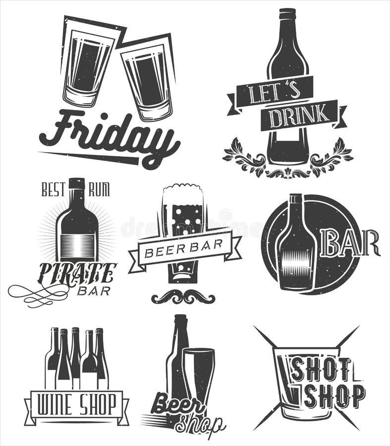 星期五是时候喝 传染媒介套周末在葡萄酒样式的党标签 徽章、象征和被隔绝的商标 向量例证