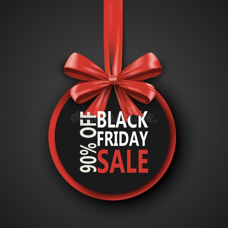 黑星期五销售题字设计模板 与弓丝带的黑星期五横幅 设计的折扣90专辑 向量例证