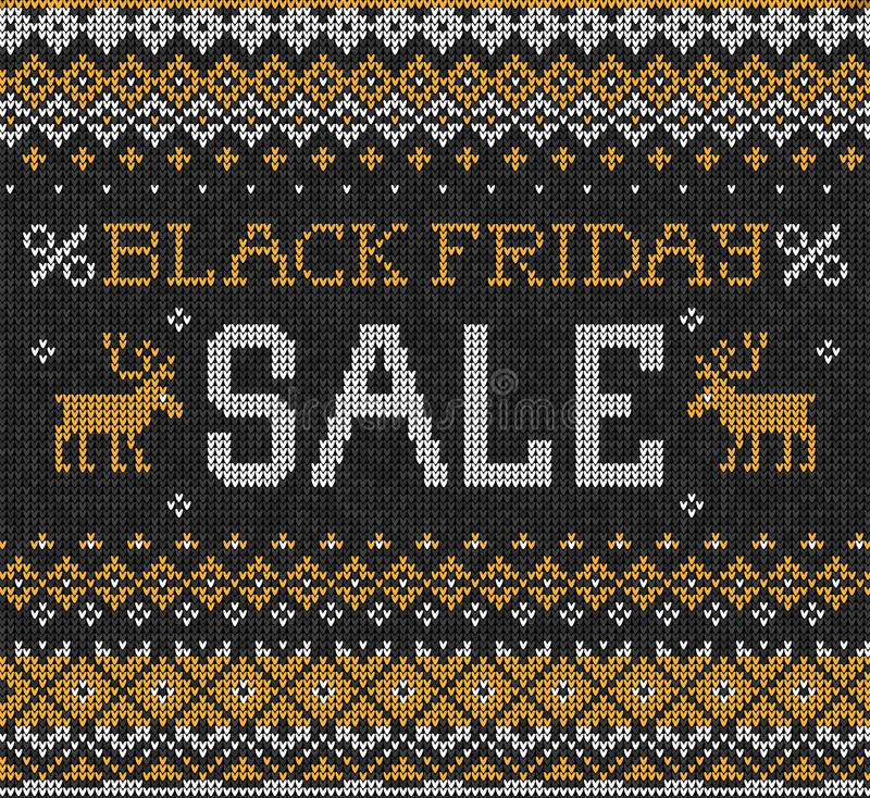 黑星期五销售:斯堪的纳维亚或俄国样式被编织的embroid 向量例证