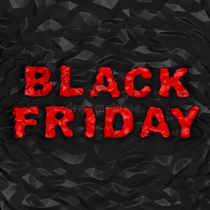 黑星期五& x28; 购物折扣创造性的concept& x29; 红色弄皱在翘曲的多角形黑背景的文本 皇族释放例证