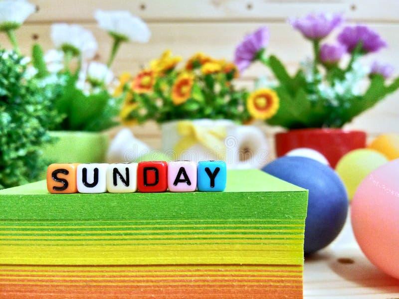 星期天 在稠粘的笔记块的五颜六色的立方体信件 免版税图库摄影