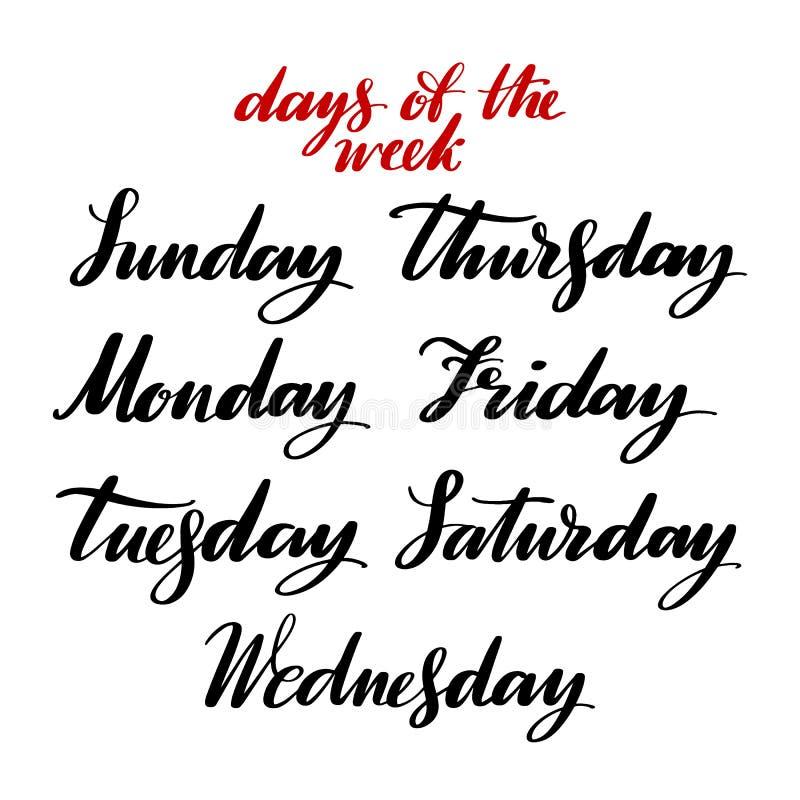 星期用手 手拉的创造性的书法和刷子写作字法,海报的,卡片设计,和 库存例证