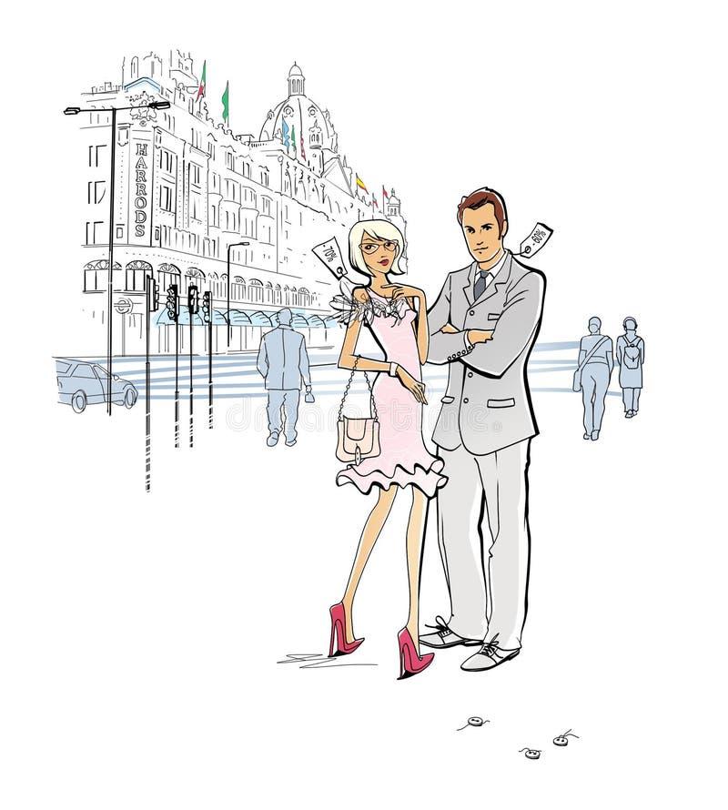 购物在伦敦 星期销售 被打折的衣物 一个男人和一名妇女衣裳的有减价标记的在部门附近站立 皇族释放例证