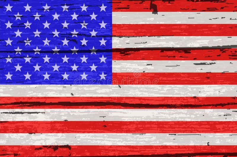 星条旗在老木材下垂 向量例证