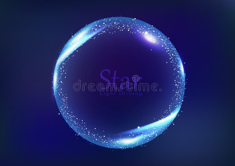 星框架星系和空间横幅概念,圆圆环光发光的发光的消散明亮的霓虹庆祝横幅摘要 皇族释放例证