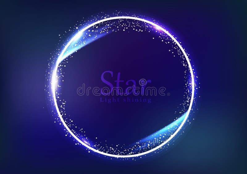 星框架星系和空间横幅概念,圆圆环光发光的发光的闪闪发光作用尘末爆炸驱散明亮的氖 向量例证