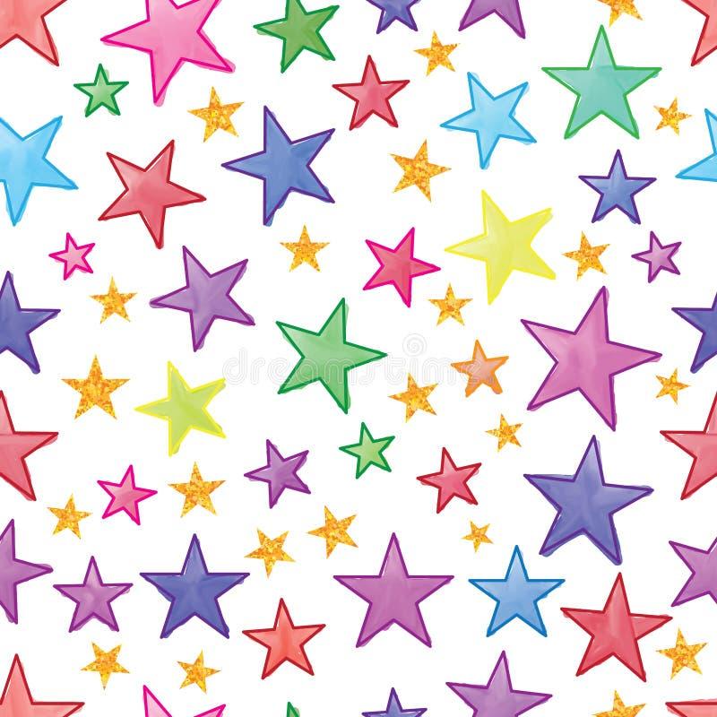 星水彩金子闪烁无缝的样式 库存例证