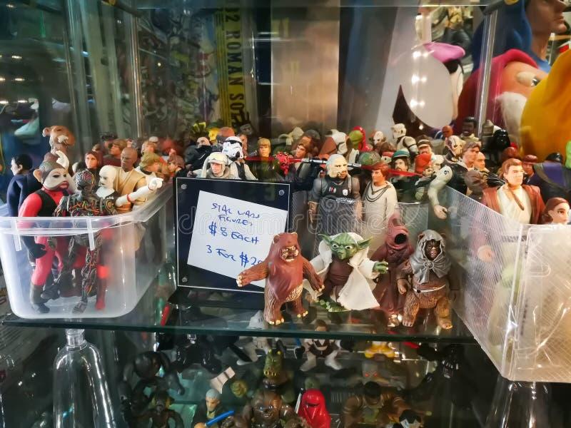 星球大战式样形象的汇集$20的待售$8每或3在一家古董店 免版税库存图片