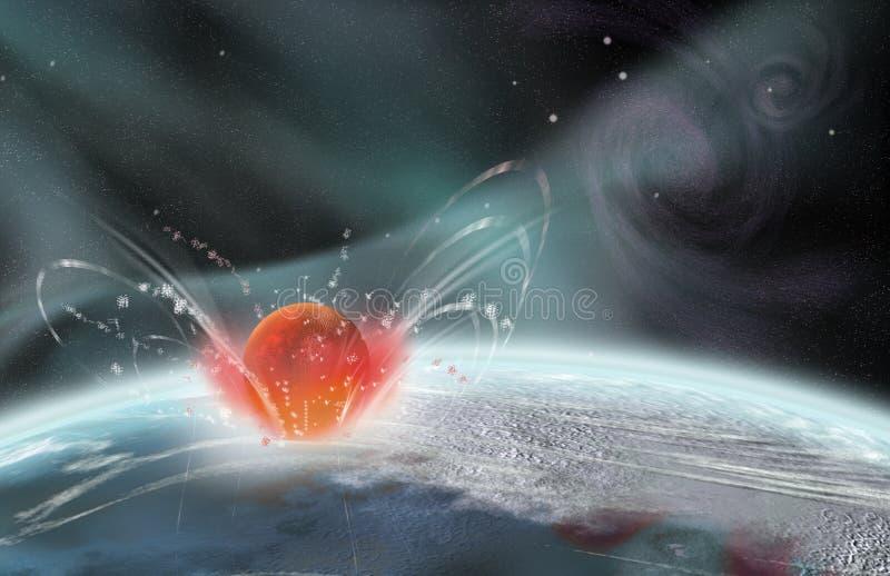 星球的imapact 向量例证
