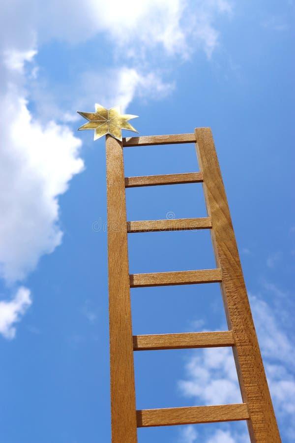 星的伸手可及的距离与梯子 免版税库存照片