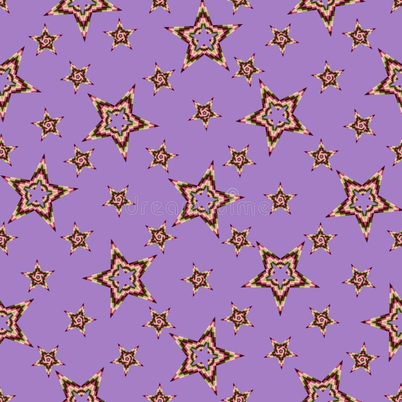 星的无缝的样式被堆积色的正方形,在明亮的紫色背景 皇族释放例证