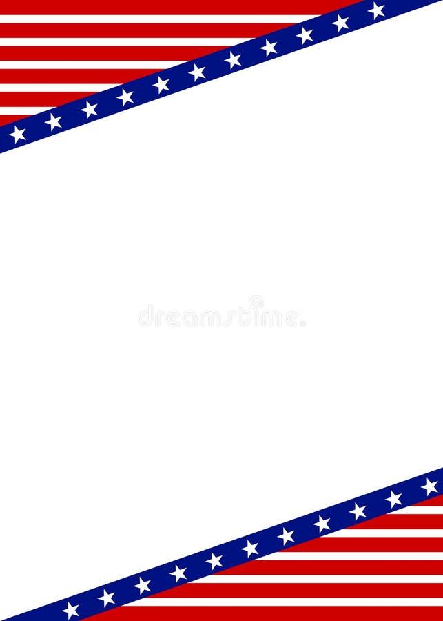 星的爱国框架设计与红色和蓝色 免版税库存图片
