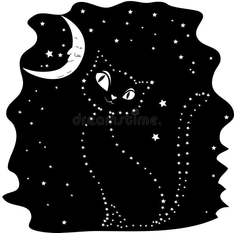 星的猫剪影反对黑夜空的 库存例证