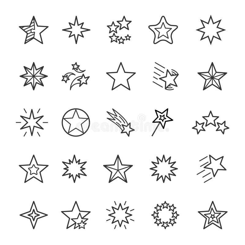 星线性象集合 各种各样的多角形塑造稀薄的线编辑可能的冲程传染媒介标志 皇族释放例证