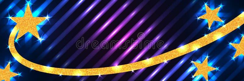 星线金子闪烁卷毛蓝色紫色横幅RGB 皇族释放例证