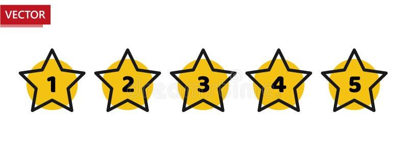 星规定值最小设计黑色和黄色 五星率象 反馈概念 评估系统 正面回顾 向量 皇族释放例证