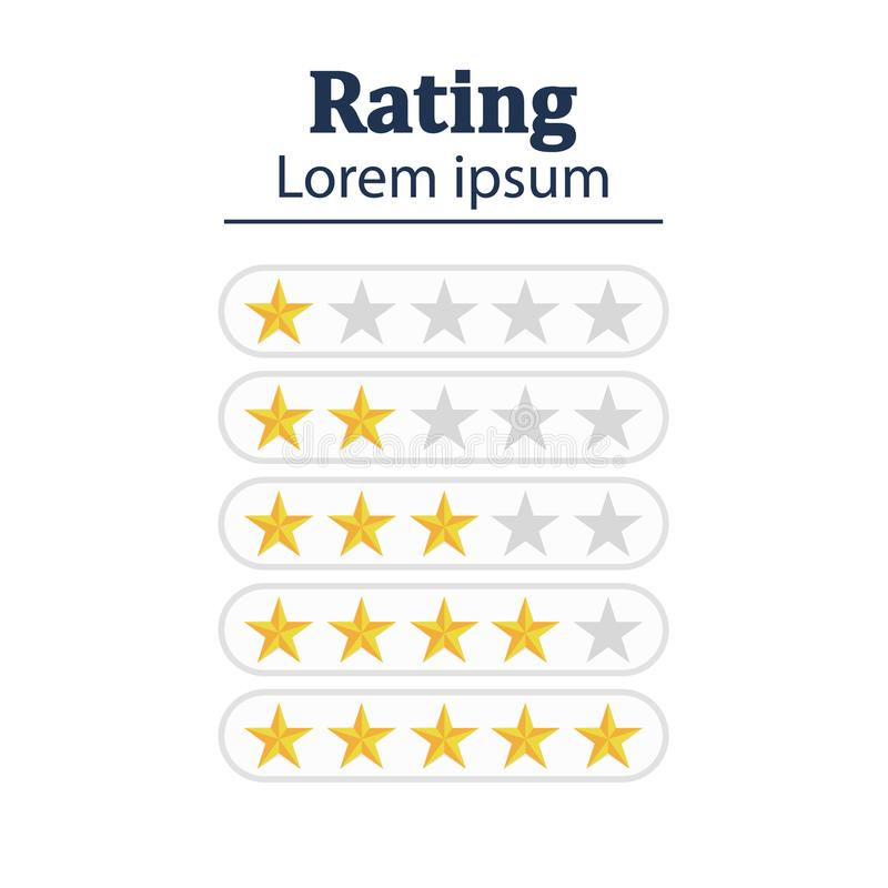 星规定值 反馈概念 评估系统 正面回顾 传染媒介例证平的设计 查出在白色 向量例证