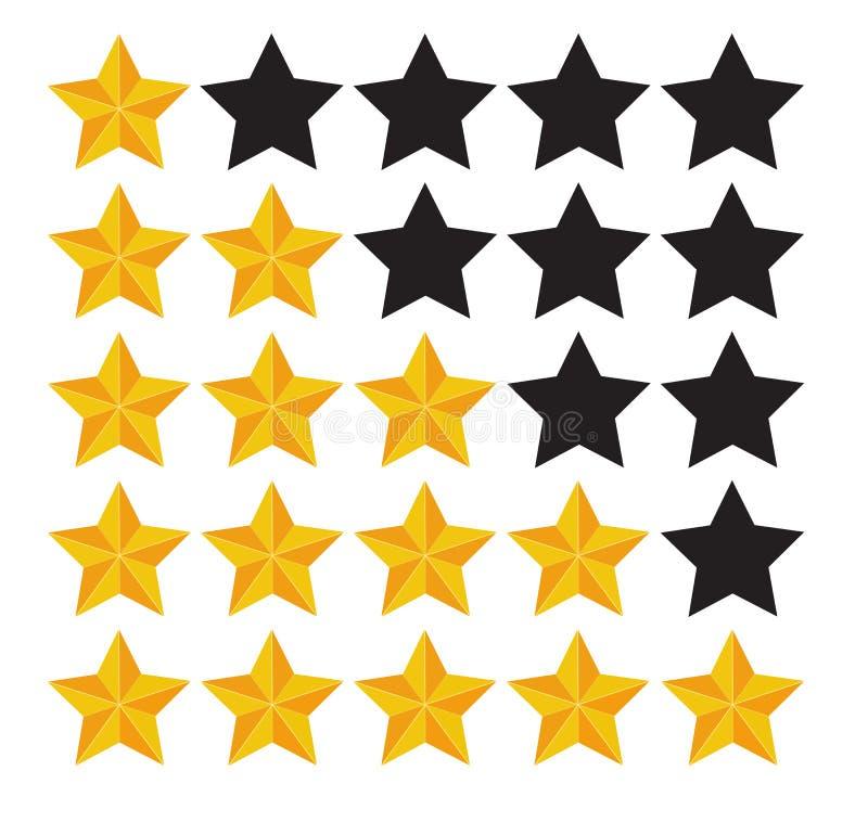星规定值 评估系统和正面回顾标志 也corel凹道例证向量 库存例证
