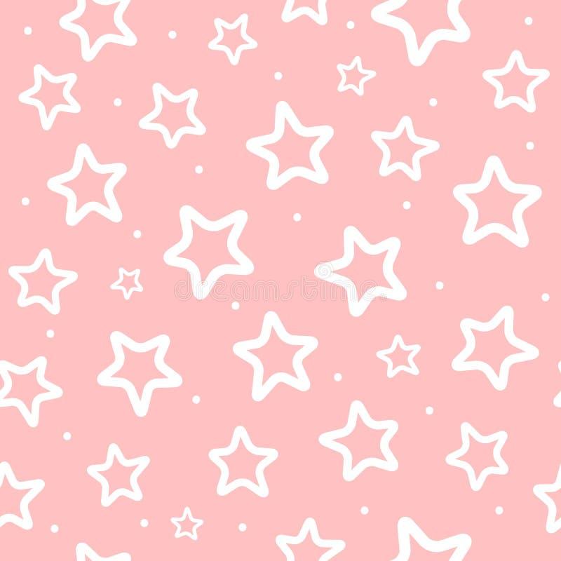 星重复的白色圆的小点和概述在桃红色背景的 女孩的逗人喜爱的无缝的样式 向量例证