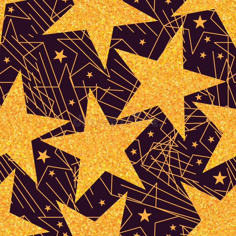 星金黄闪烁大无缝的样式 库存例证