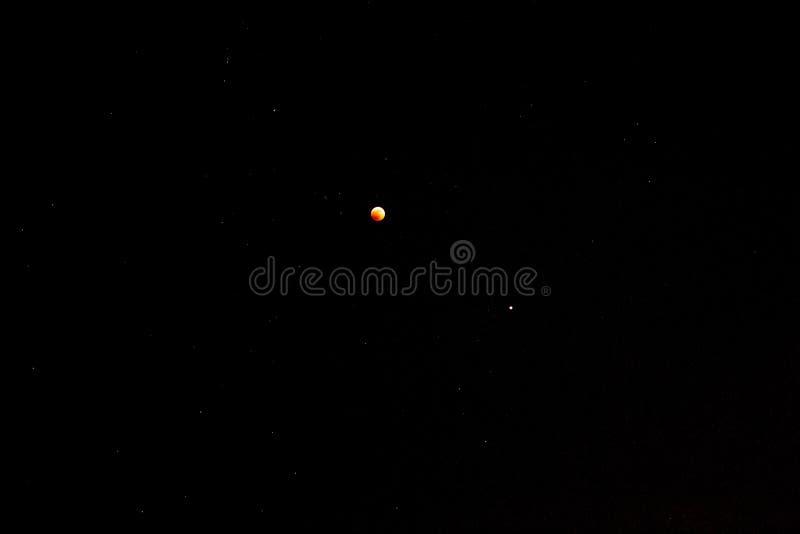 星黑色天空,红色血淋淋的月亮,蚀,火星 库存图片
